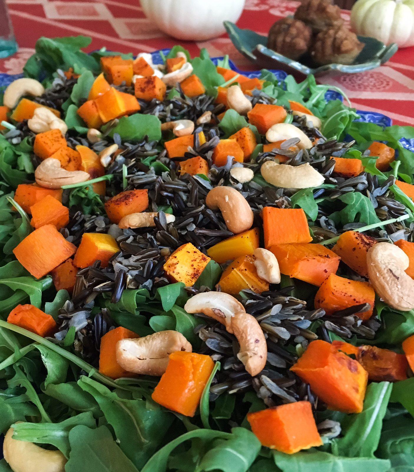 arugula, butternut squash, arugula salad, salad, black rice, cashews, squash, fall, fall salad, winter salad