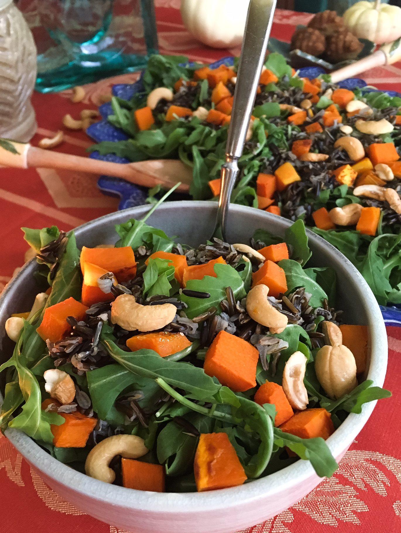 arugula, arugula salad, salad, fall salad, fall, black rice, butternut squash, squash, cashews