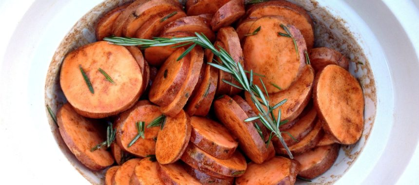 Maple Rosemary Sweet Potatoes