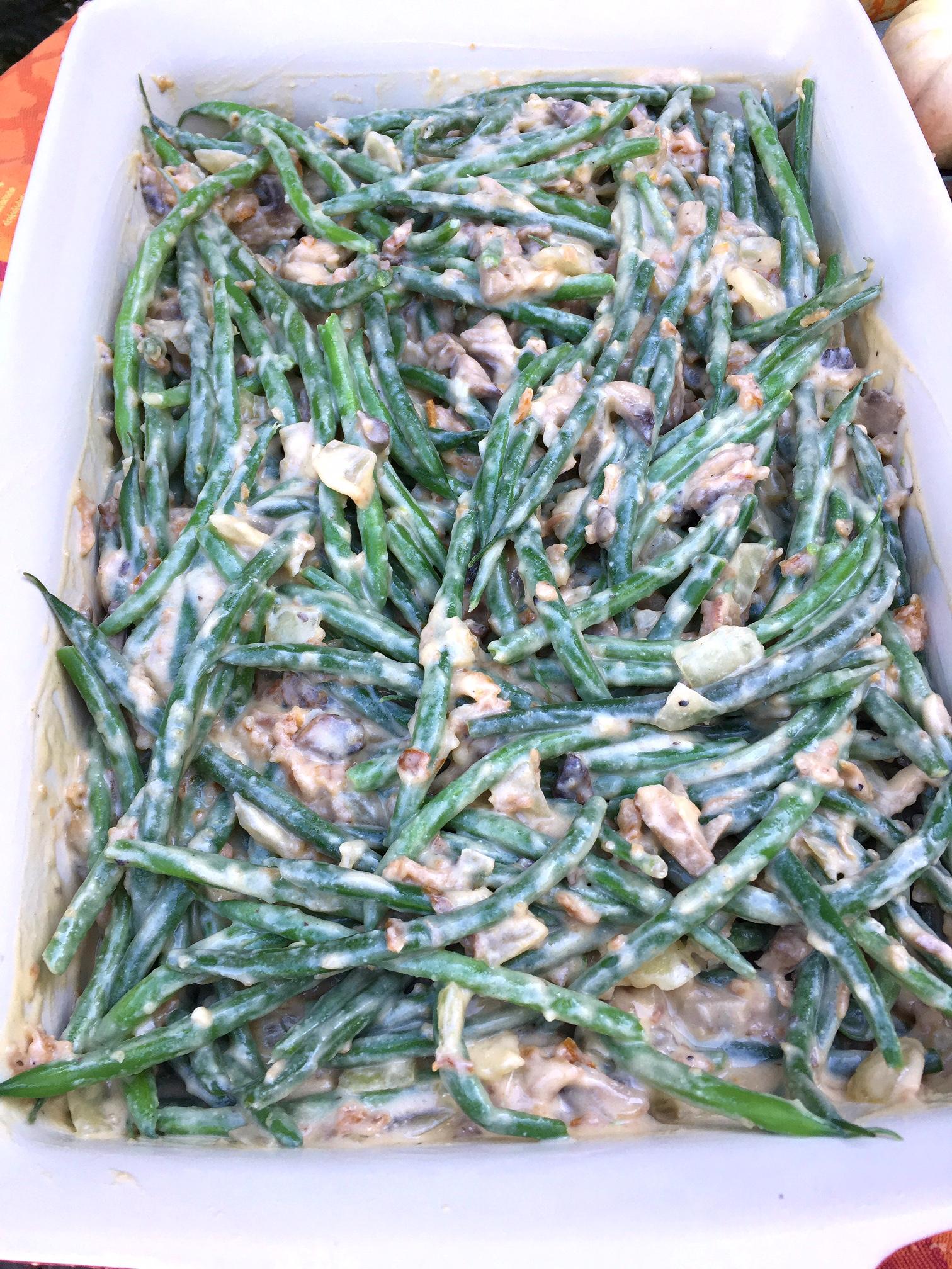 green beans, green bean casserole, cream of mushroom soup, cashews, cream, cashew cream