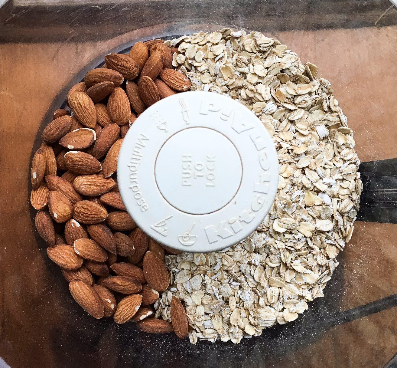 almonds, oats, gluten-free oats, oat bars, espresso, cookie bars, chocolate chip