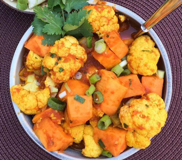 aloo gobi, potato, cauliflower, indian, sweet potato, turmeric, cilantro, tomatoes