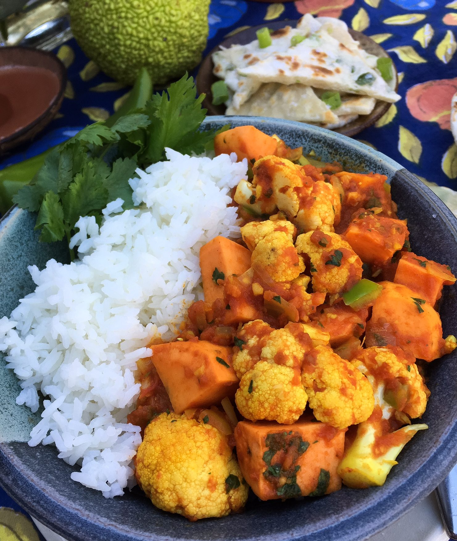 aloo gobi, indian, indian food, potato, sweet potato, cauliflower, turmeric, rice, rice bowl