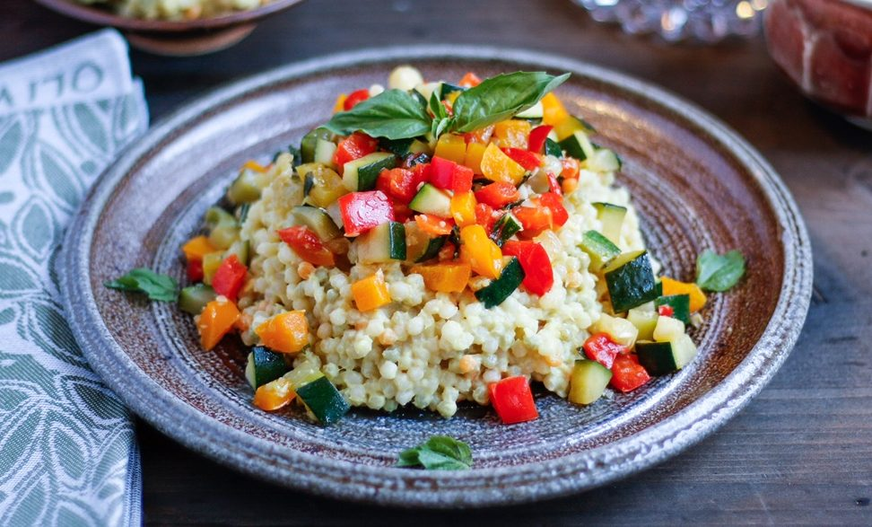 vegetable confetti cous cous, cous cous, confetti vegetables, cauliflower mousse