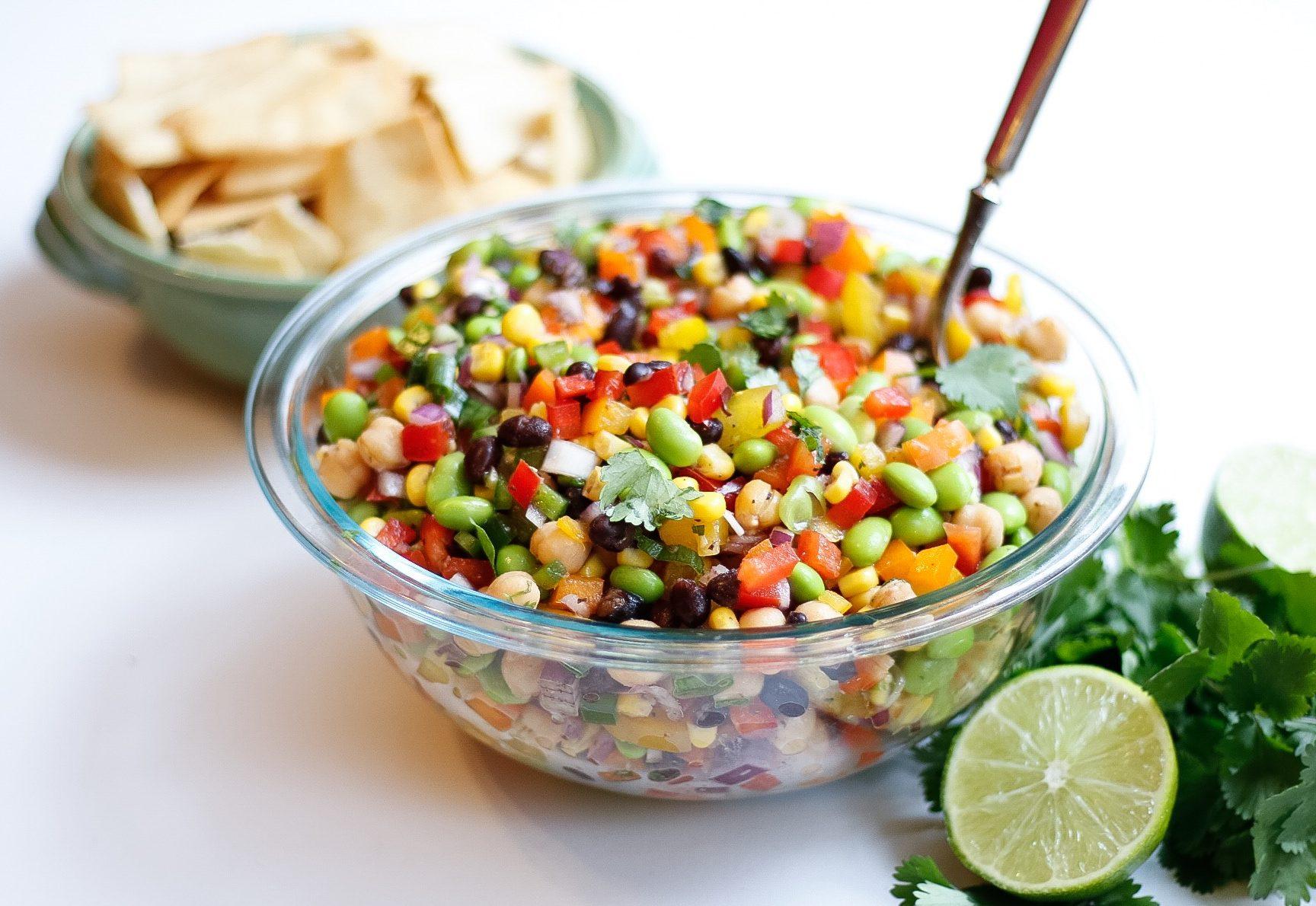 edamame caviar, cowboy caviar, edamame, bell peppers, superbowl appetizer, appetizer