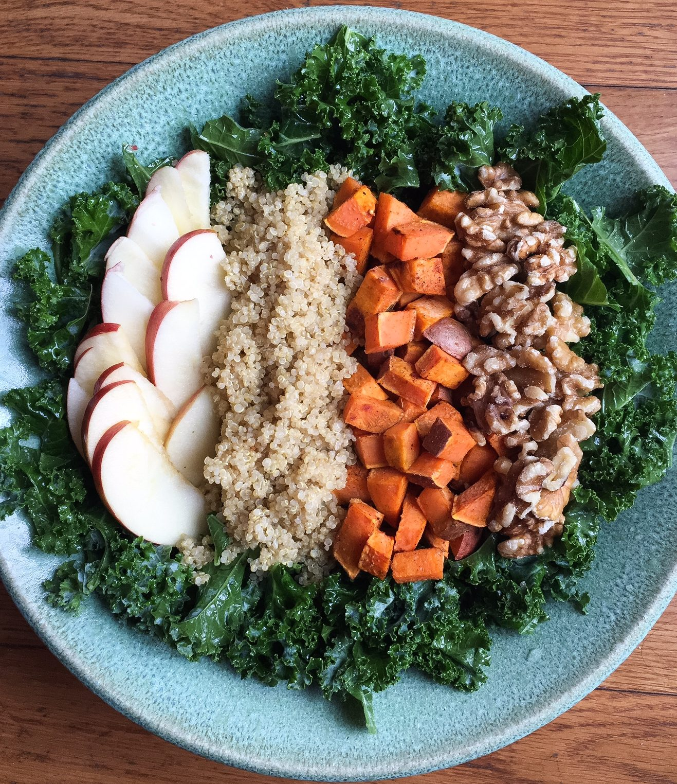 harvest kale salad, kale, kale salad, sweet potato, harvest salad, quinoa