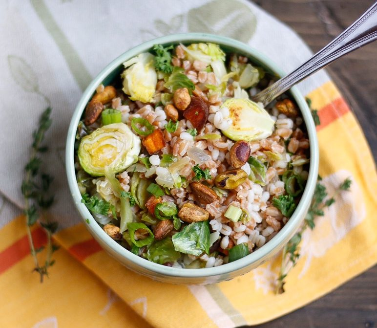 brussel sprout grain salad, brussel sprout salad, brussel sprout and barley salad, grain salad