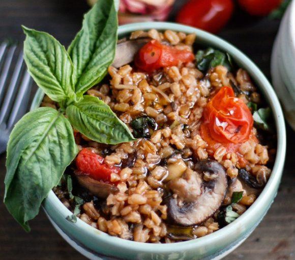 mushroom and tomato farrotto, farrotto, farroto, tomato farrotto