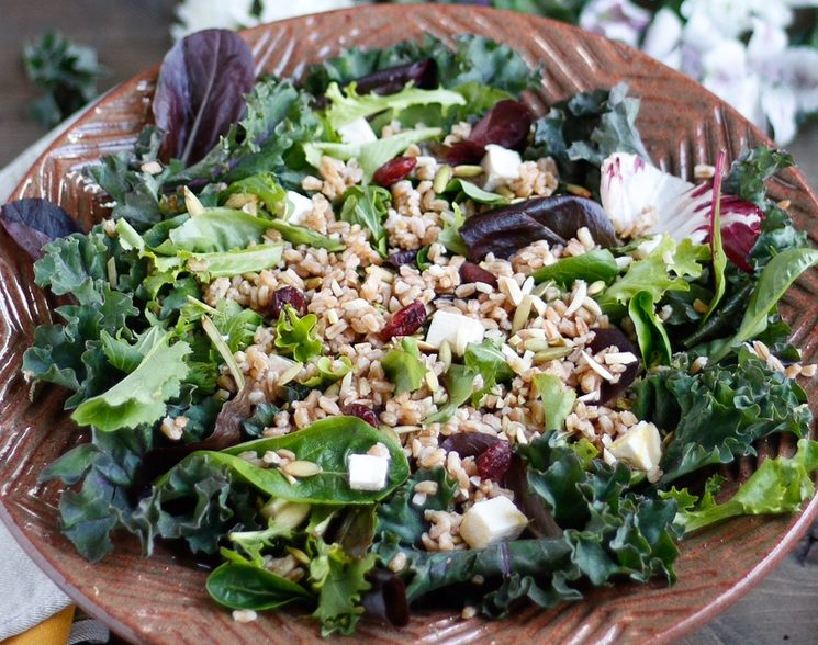 farro salad, farro toasted pumpkin seed and dried cherry salad, simple salad with farro