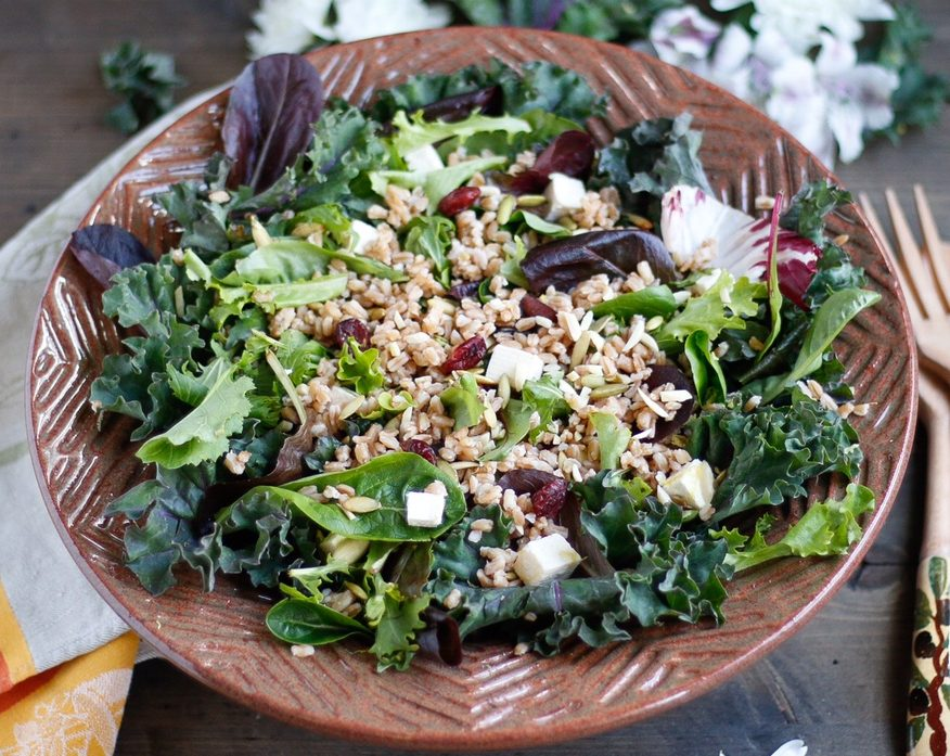 farro, pumpkin seed, and dried cherry salad, simple salad with farro