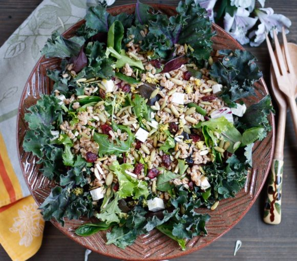 farro, toasted pumpkin seed, and dried cherry salad, simple salad with farro
