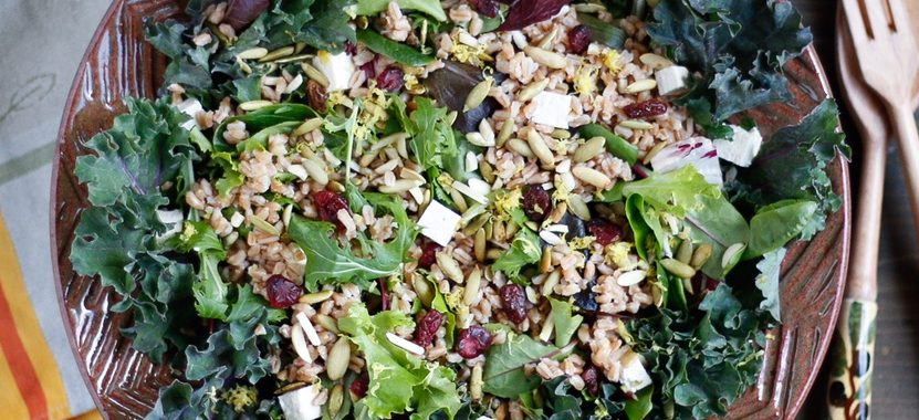 Farro, Toasted Pumpkin Seed, and Dried Cherry Salad