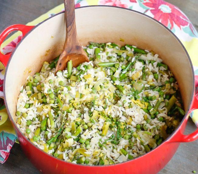 spring green risotto, pea risotto, risotto, green risotto, vegan risotto