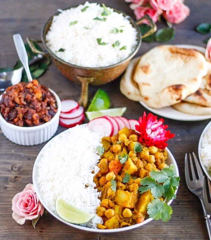 chana aloo, chickpea curry, chickpea and potato curry, vegan curry, vegan chickpea and potato curry,