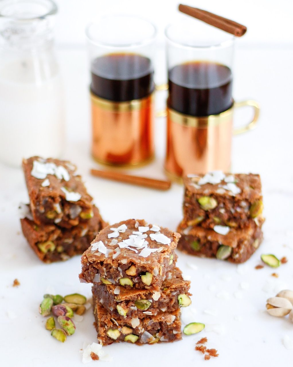 pistachio blondies, coconut pistachio blondies, vegan blondies, vegan coconut blondies, almond butter blondies
