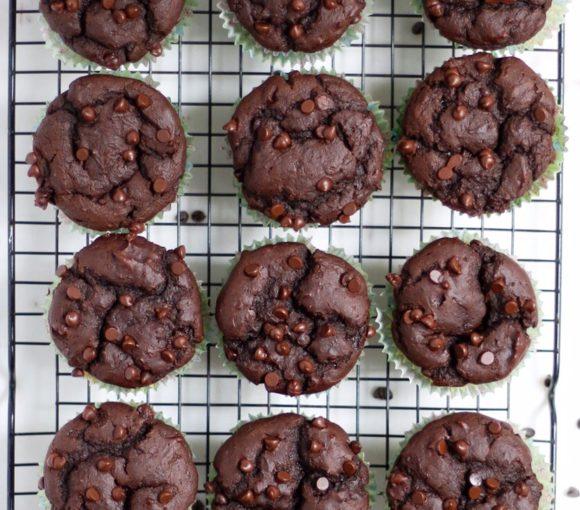 vegan double chocolate sweet potato muffins, vegan double chocolate chip sweet potato muffins, double chocolate chip muffins, sweet potato muffins, vegan sweet potato muffins, double chocolate chip