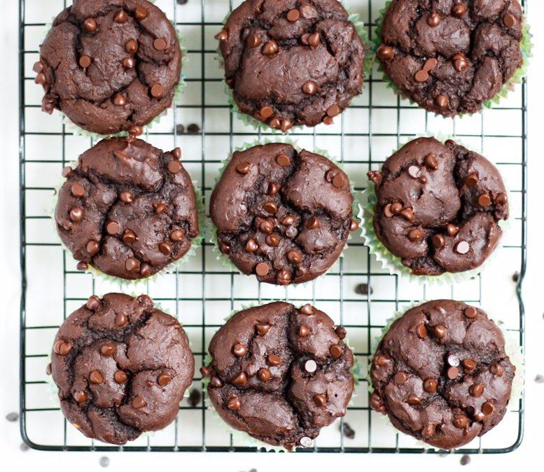 vegan double chocolate chip sweet potato muffins, double chocolate chip muffins, sweet potato muffins, vegan sweet potato muffins, double chocolate chip