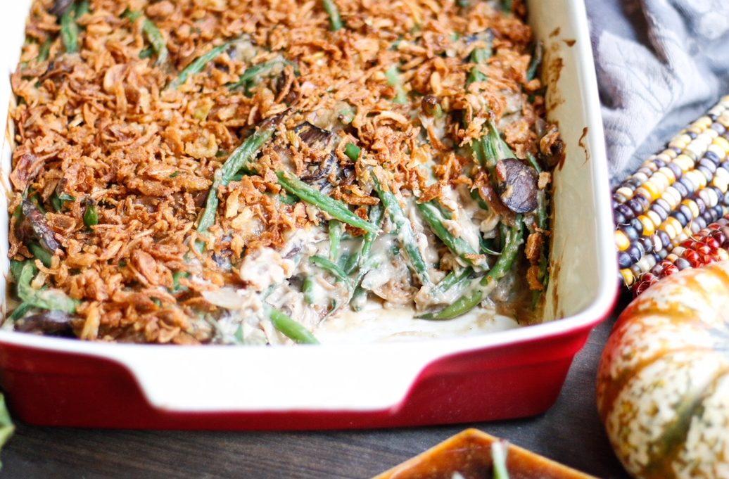 greenbean casserole, green bean casserole, vegan green beans, vegan greenbean casserole, thanksgiving recipes, vegan thanksgiving recipes