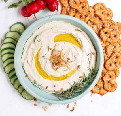 caramelized onion hummus, hummus, homemade hummus, vegan hummus