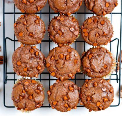 vegan pumpkin muffins, dairy-free pumpkin muffins, pumpkin muffins, cinnamon chip pumpkin muffins, muffins, pumpkin, pecan pumpkin muffins