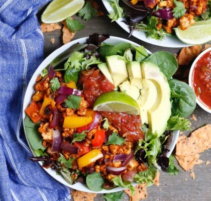 taco salad, meal prep, vegan taco salad, taco tuesday