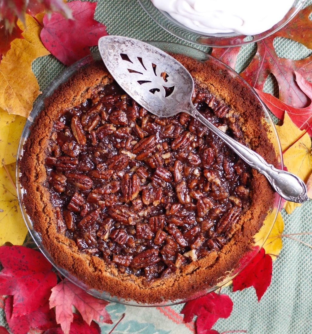 pecan pie, vegan pecan pie, low sugar pecan pie, low sugar pie, pie