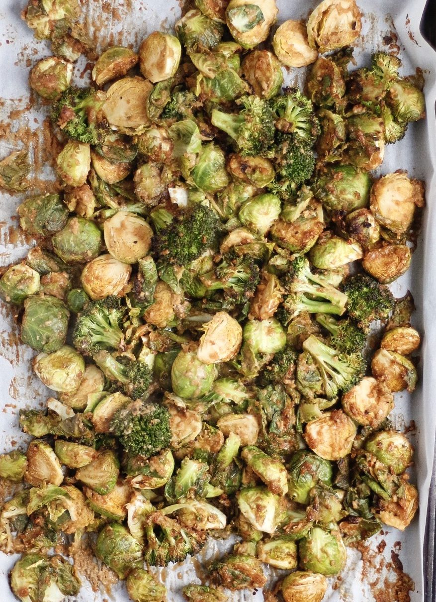 roasted peanut brussel sprouts, roasted brussel sprouts, peanut sauce, peanut veggies, brussel sprouts, peanut butter brussel sprouts