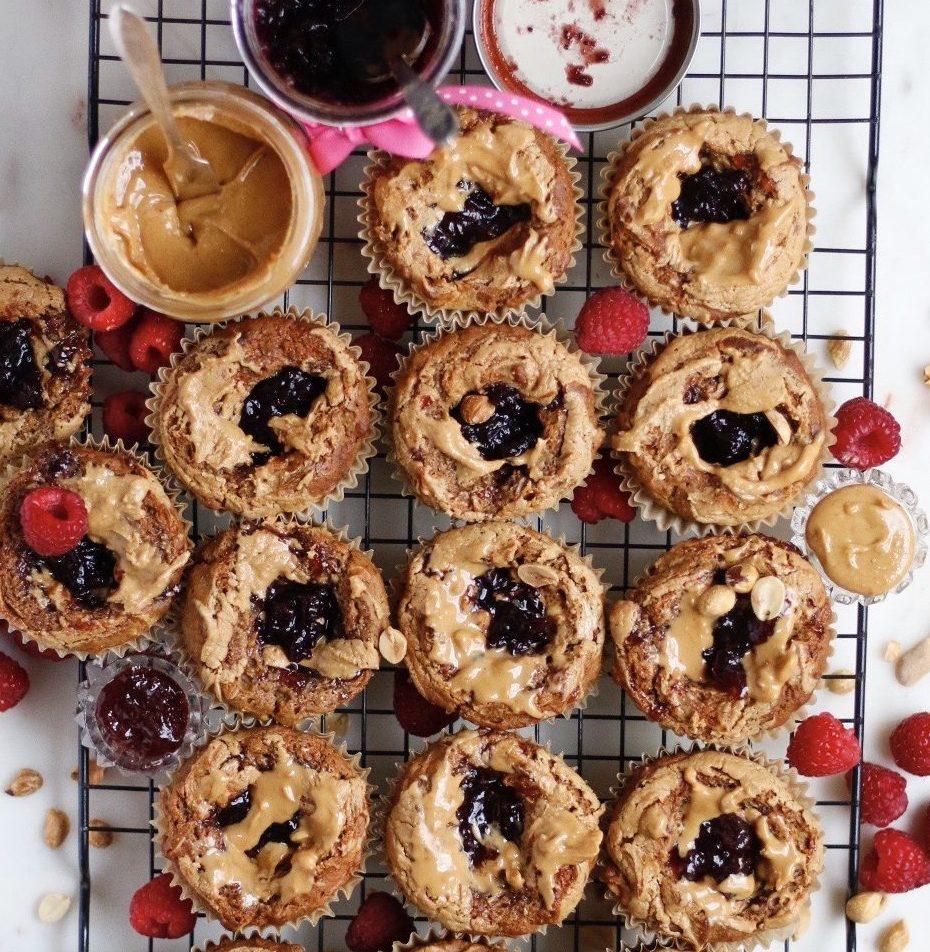 pbj, pbj muffins, peanut butter and jelly, peanut butter and jelly muffins, vegan peanut butter muffins, protein muffins