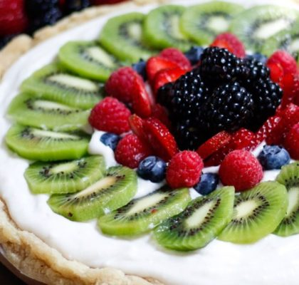 fruit pizza, vegan fruit pizza, dairy-free fruit pizza