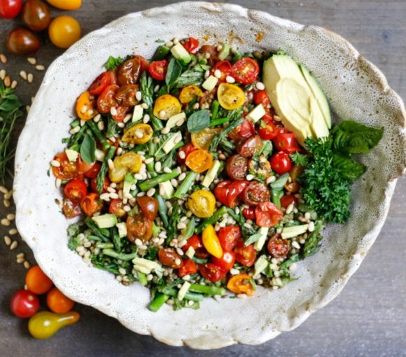 tomato and asparagus mung bean salad, mung bean salad, mung bean, tomato, asparagus