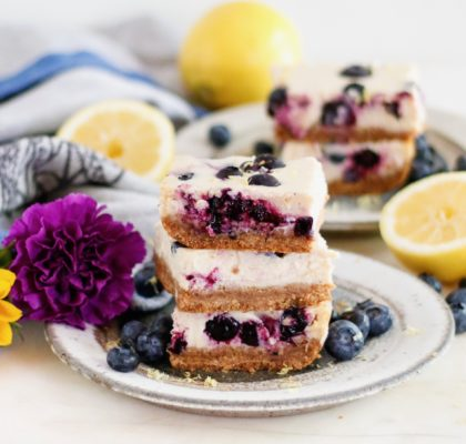 vegan cheesecake bars, blueberry lemon cheesecake bars, vegan blueberry lemon cheesecake bars, cheesecake bars