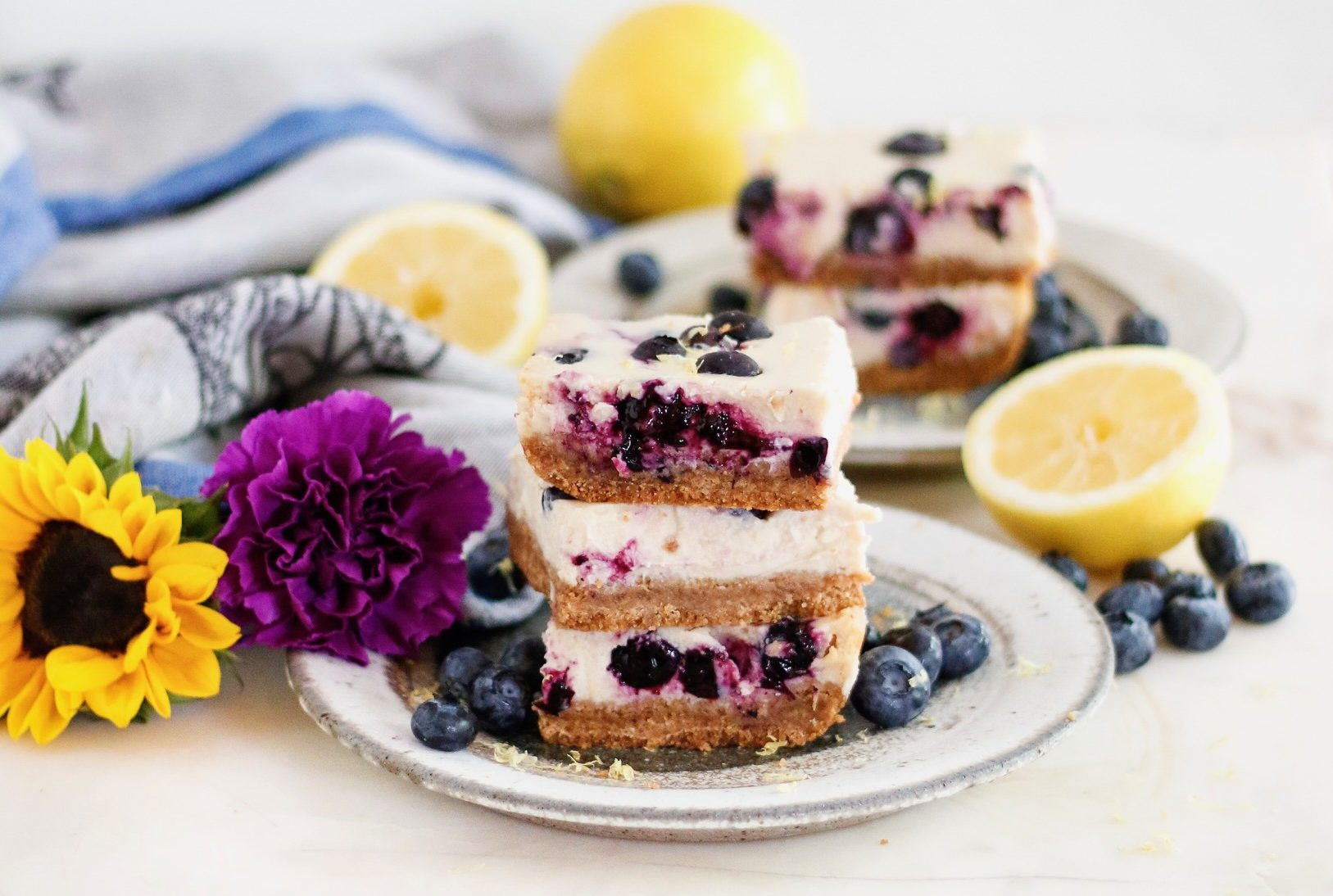 vegan cheesecake bars, blueberry lemon cheesecake bars, vegan blueberry lemon cheesecake bars, cheesecake bars