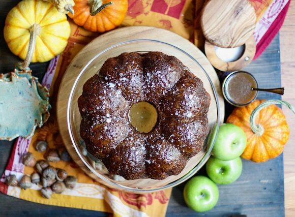 vegan salted caramel apple cake, caramel apple cake, salted caramel apple cake, caramel apple poke cake, vegan caramel apple cake