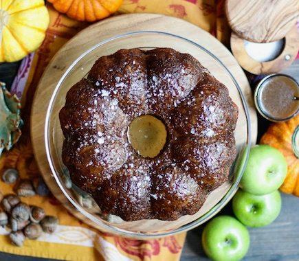 Salted Caramel Apple Poke Cake {vegan}