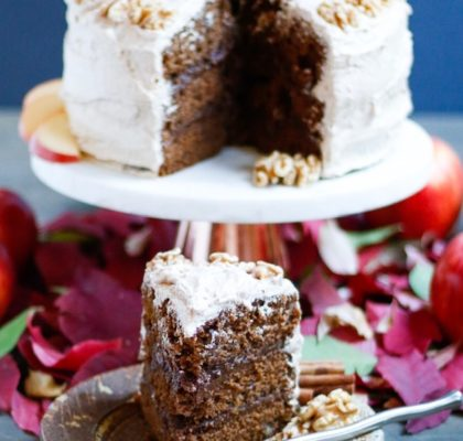 molasses spice cake, apple spice cake, vegan spice cake, vegan molasses spice cake, cinnamon buttercream, brown sugar cinnamon butter cream