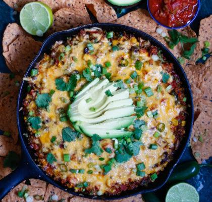 quinoa taco skillet, mexican taco skillet, taco skillet, vegetarian taco skillet